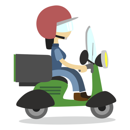 Delivery woman riding scooter