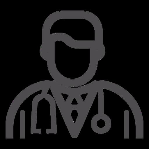 Icono de trazo de avatar de doctor
