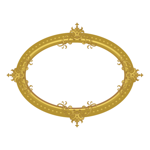 Elliptical golden frame Transparent PNG