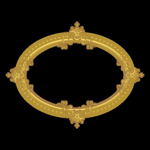 Moldura dourada elíptica Transparent PNG