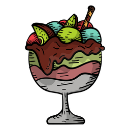 Hand drawn fruit sundae
