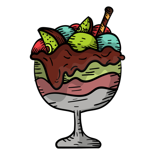 Hand drawn fruit sundae Transparent PNG