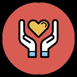 Manos sosteniendo el icono del corazón