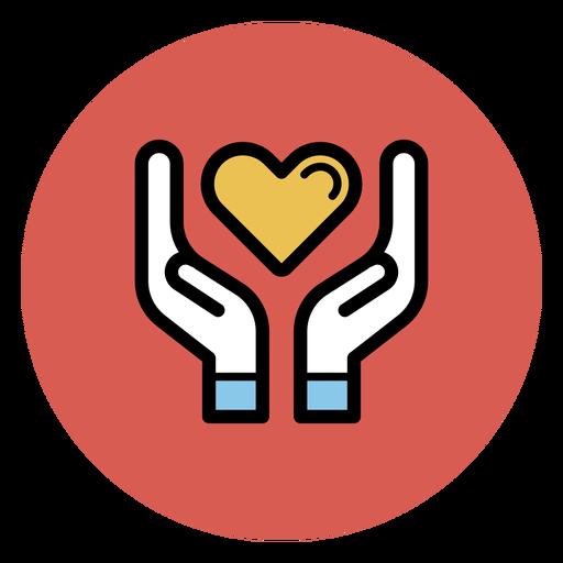 Manos sosteniendo el icono del corazón Transparent PNG