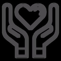 Manos sosteniendo el icono de trazo de corazón