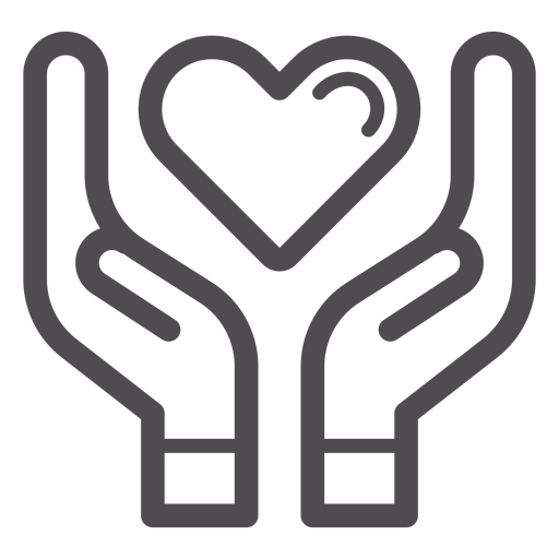 Hands holding heart stroke icon Transparent PNG