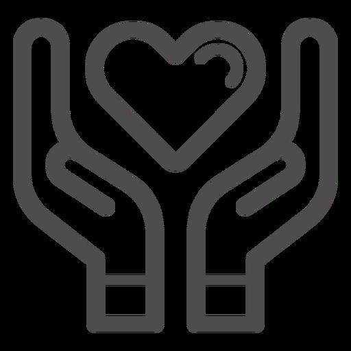 Manos sosteniendo el icono de trazo de corazón Transparent PNG