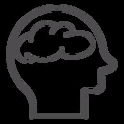 Cabeza con el icono del movimiento cerebral