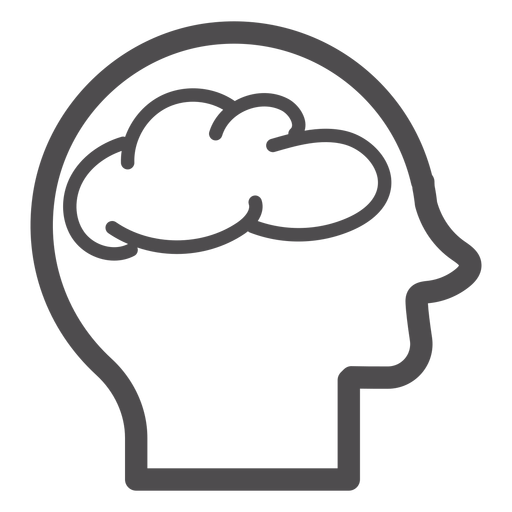 Head with brain stroke icon Transparent PNG