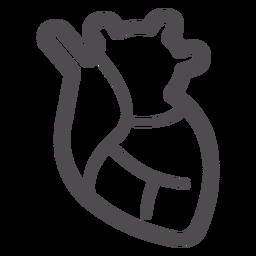 Icono del corazón del órgano golpe