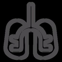 Icono de trazo de órgano de pulmones