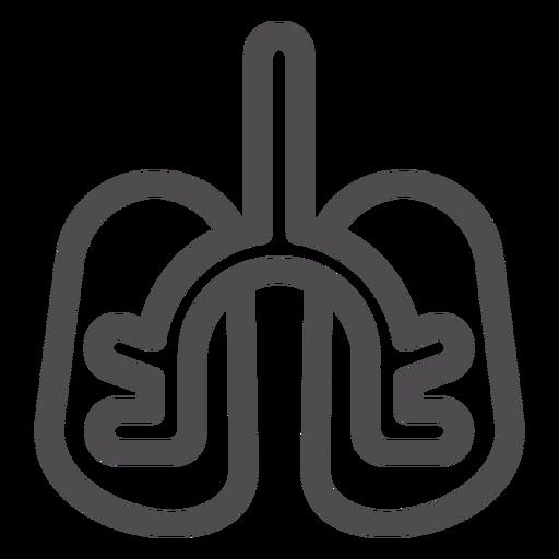 Lungs organ stroke icon
