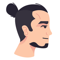 Man bun side view