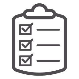 Ícone de traço de lista de verificação médica