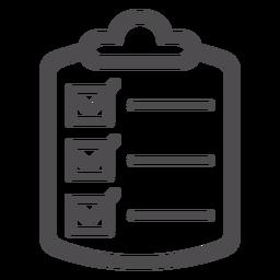 Icono de trazo de lista de comprobación médica