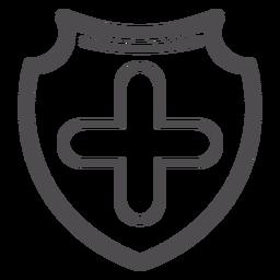 Icono de carrera médica insignia cruzada