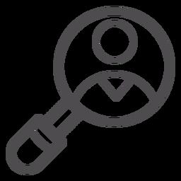 Ícone de traço de lupa médica