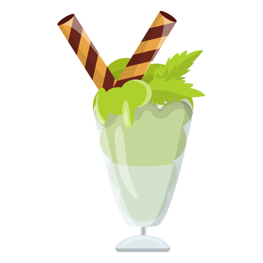 Mint ice cream sundae Transparent PNG