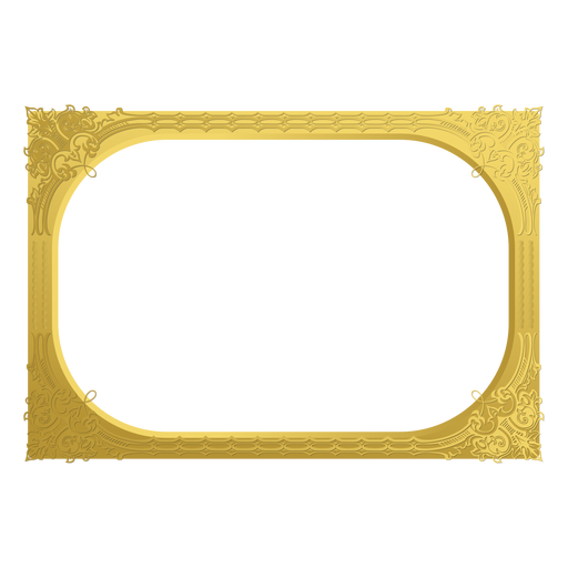 Ornamental golden frame Transparent PNG