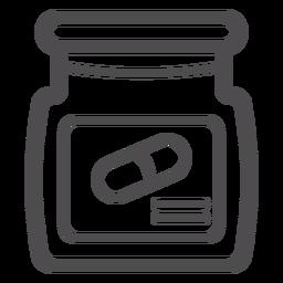 Icono de trazo de frasco de píldoras