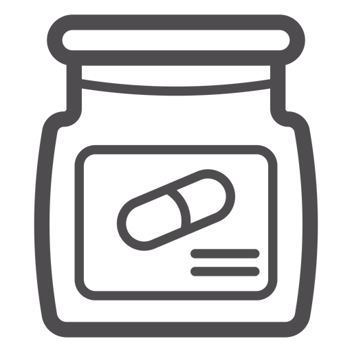 Icono de trazo de tarro de pastillas