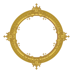 Round golden frame
