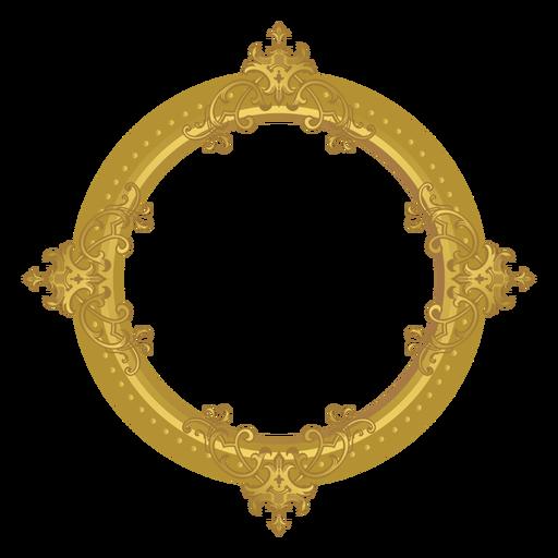 Round golden frame Transparent PNG