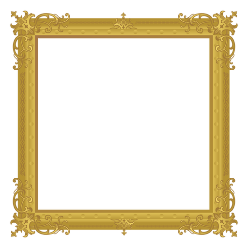 Square golden frame Transparent PNG