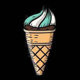 Caricatura de helado de cono de waffle