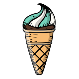 Waffle cone ice cream cartoon