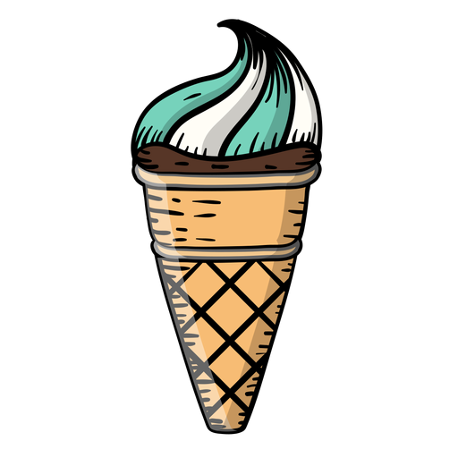 Caricatura de helado de cono de waffle Transparent PNG