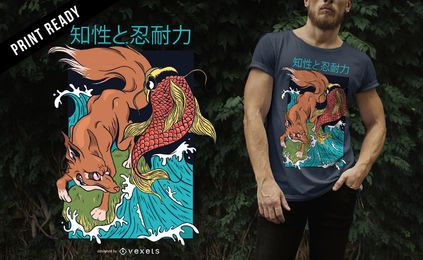 Diseño de camiseta de estilo japonés Fox and Fish