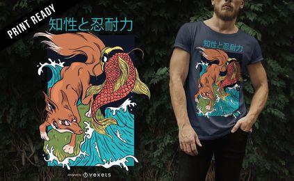 Fox e peixe estilo japonês Design de t-shirt