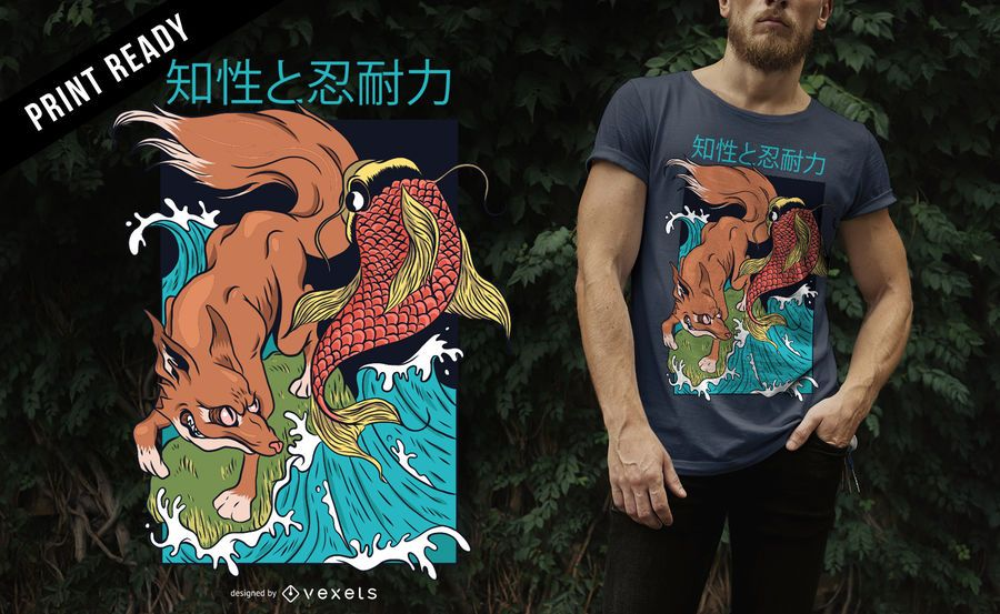 Diseño de camiseta de estilo japonés Fox and Fish