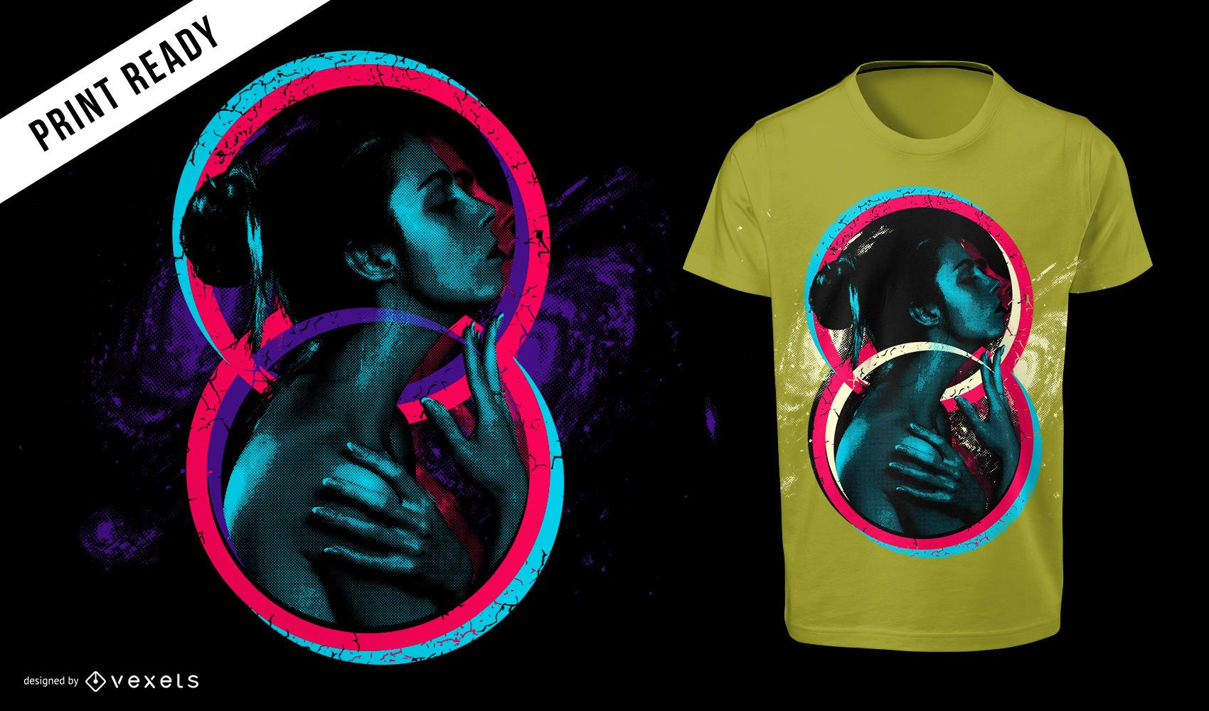 Artistic 80s Retro Style Girl T-shirt Design