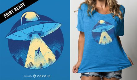 Diseño de camiseta Alien abduction