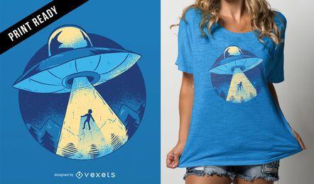 Diseño de camiseta alienígena abducción.