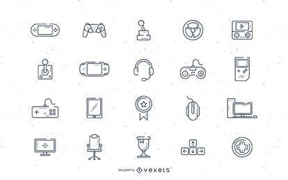 Videospiel-Schlaganfall-Ikonensatz