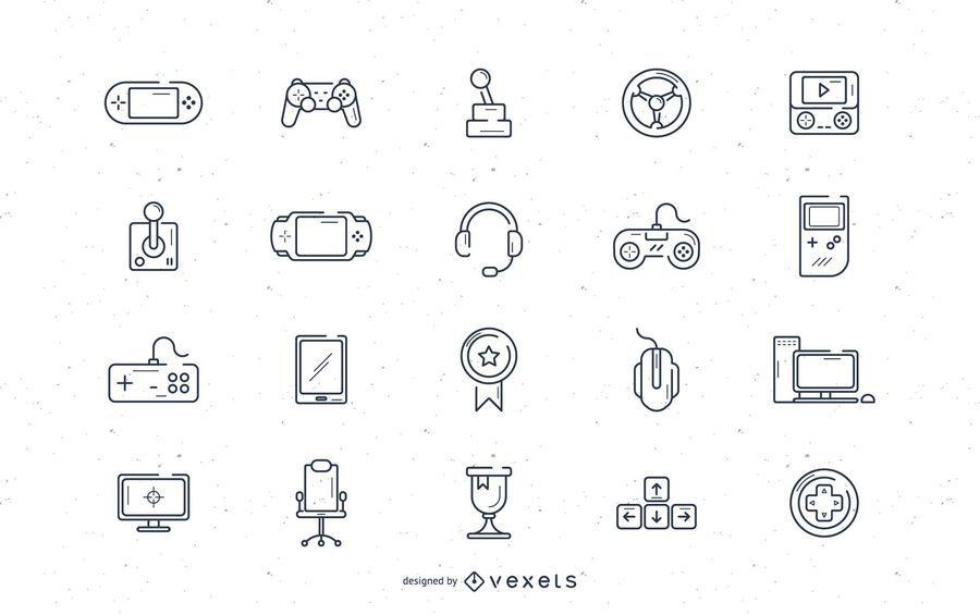 Conjunto de ícones de traçado de videogame