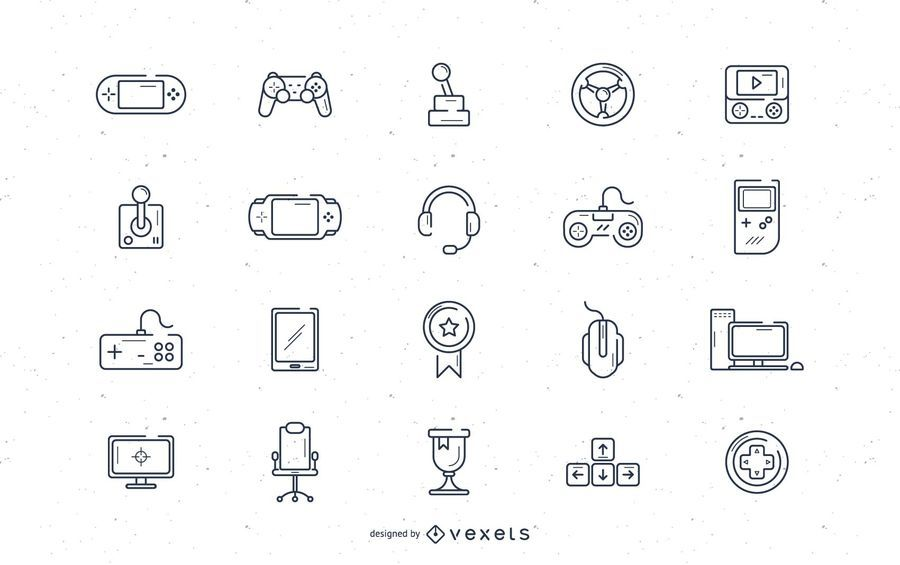 Video game stroke icon set