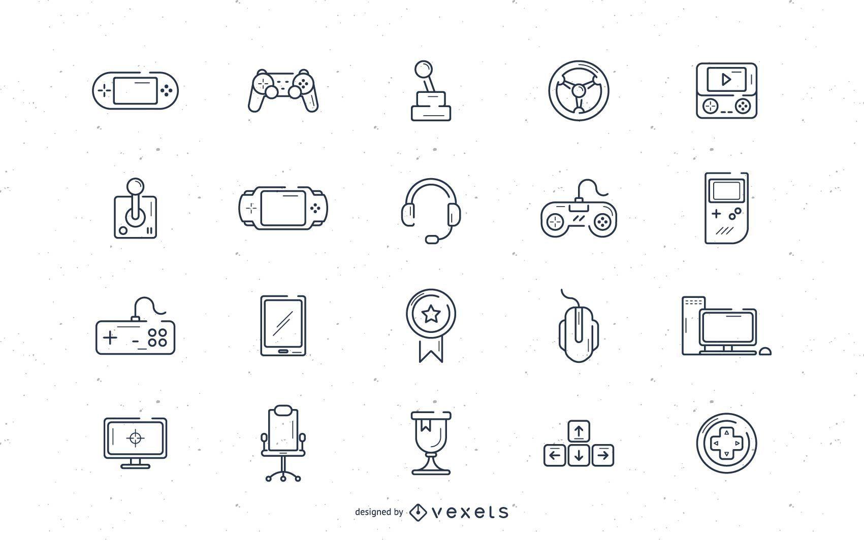 Video game stroke icon set