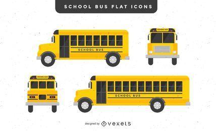 Ilustraciones planas de autobuses escolares.