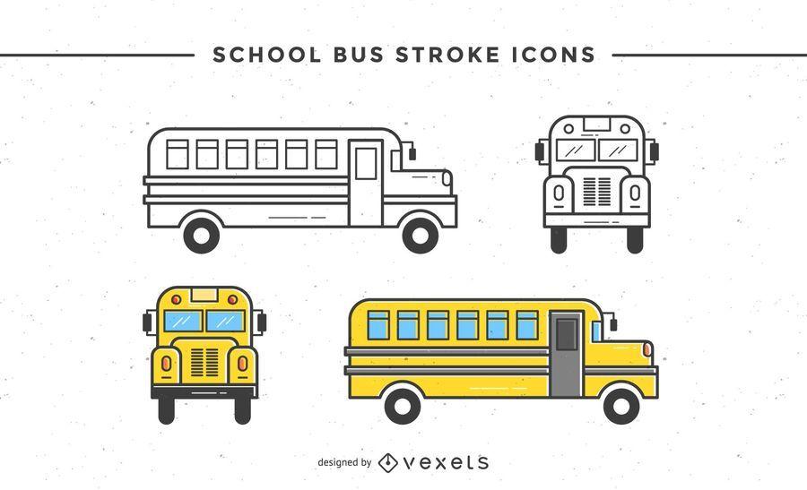 School bus stroke icons set