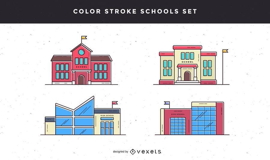 Conjunto de iconos de la escuela de trazo de color