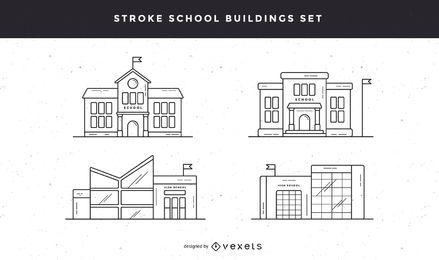 Conjunto de iconos de trazo de edificios escolares