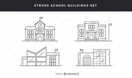 School buildings stroke icon set
