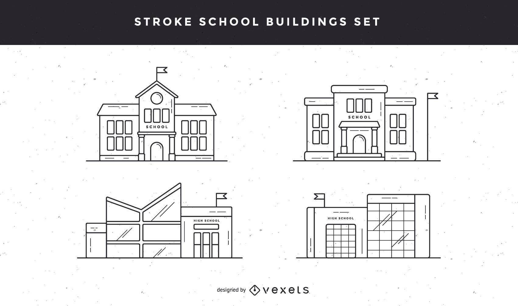 School buildings stroke icon set