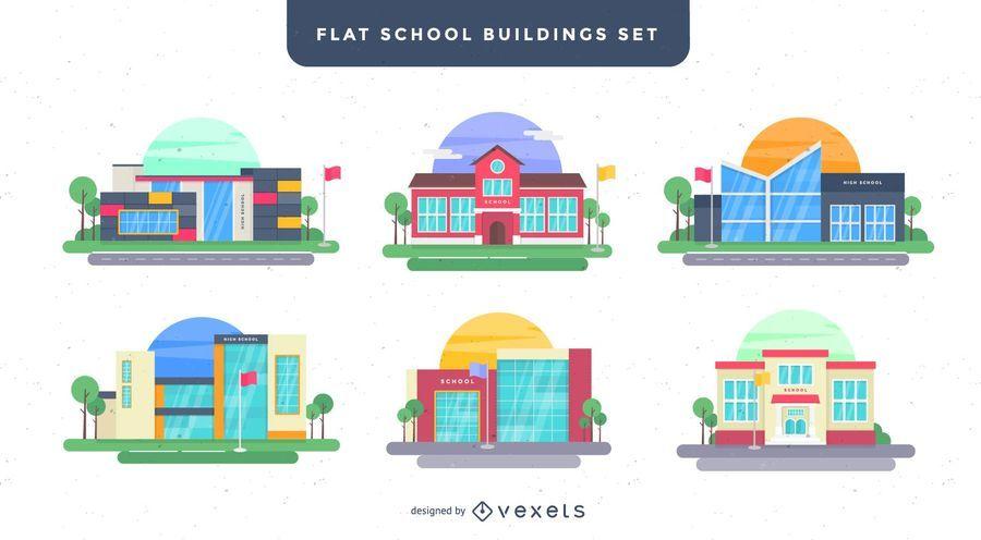 Conjunto de ilustración de edificios escolares