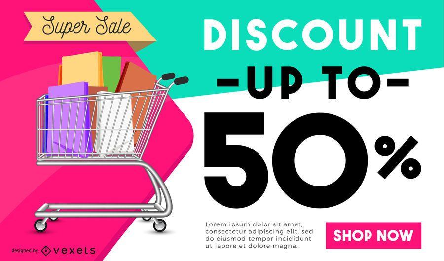 Design de cartaz de desconto de compras