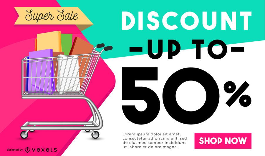 Shopping discount poster design